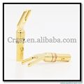 New 24K Audio banana plug to spade speaker adapter Fork Plug Type Brass Gold Plated ADAPTER