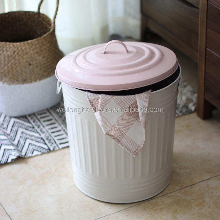 Household Big Size Powder Coating Galvanized Metal Garbage Trash Bin