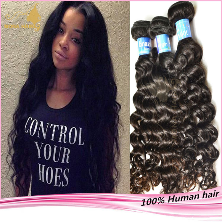 Good feedback raw human hair weave deep wave style can be dyed 100 virgin brazilian hair free sample