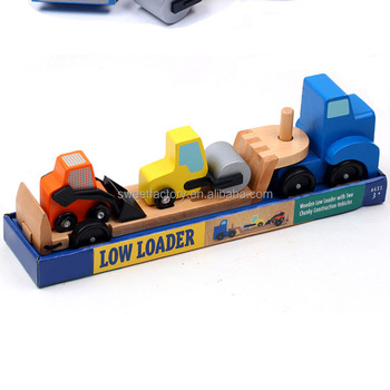 interesting wooden low loader for child