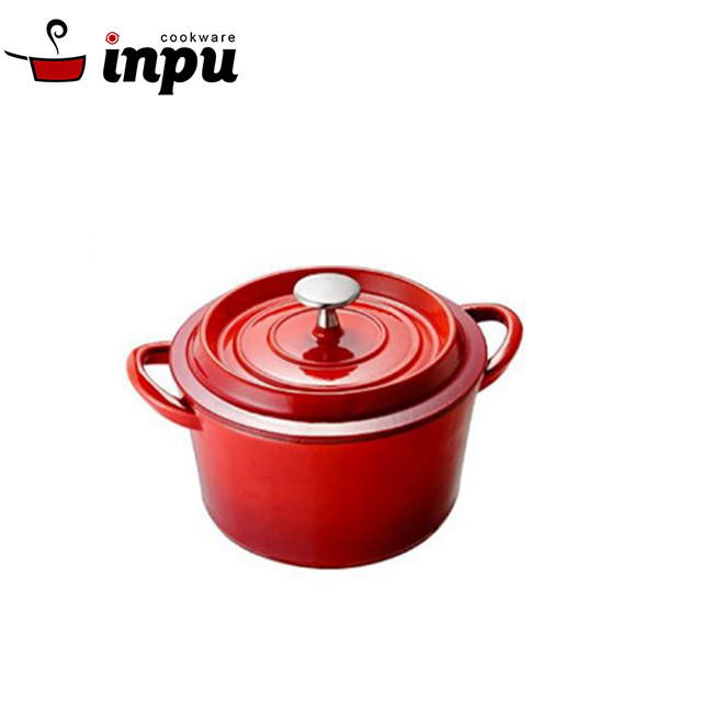 safety enameled cast iron casserole with double loop handle