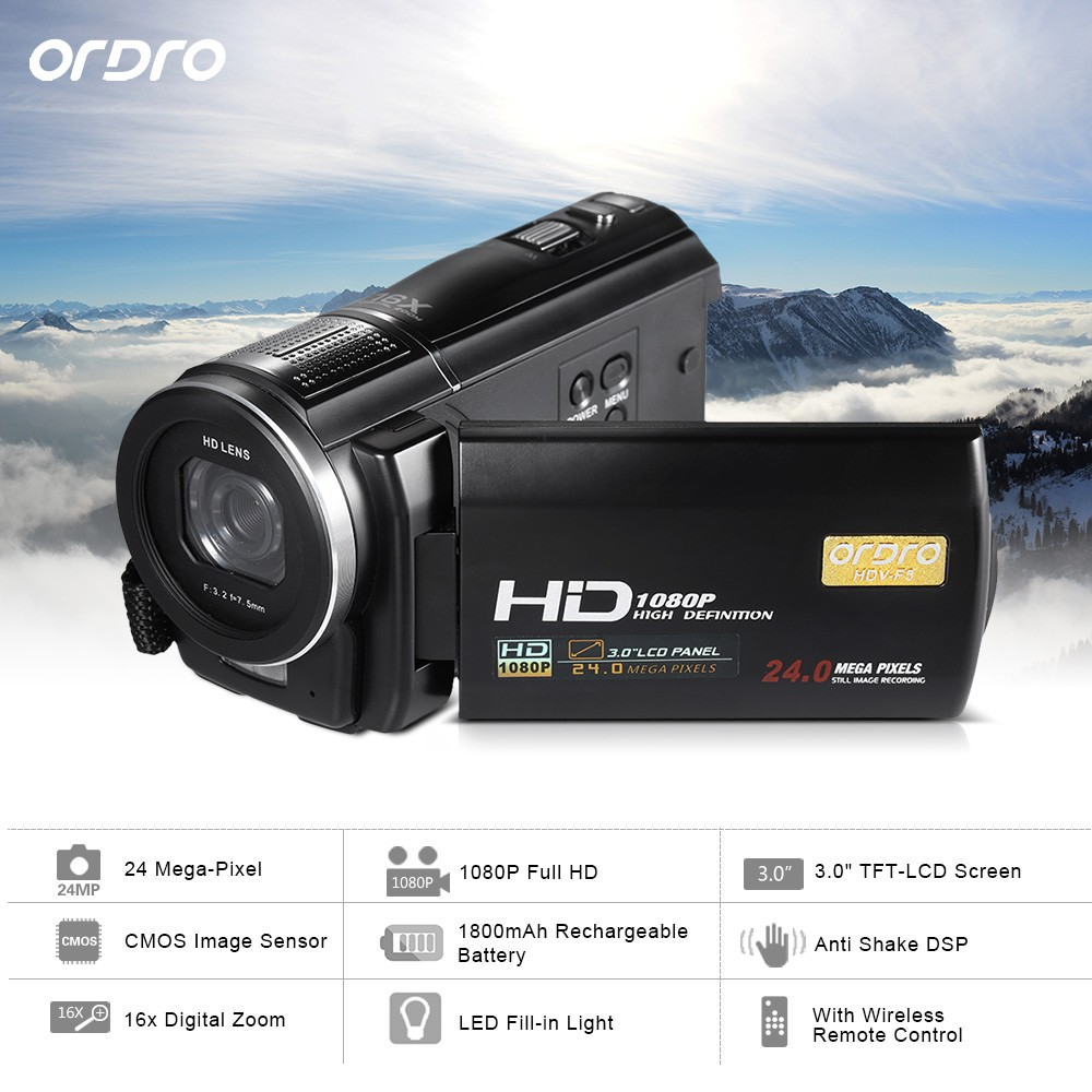 Cheap New Ordro HDV F5 Digital Camcorder Wifi Camcorder 1080P Full HD Video 3inch Touch Screen Remote Control