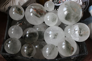 Rare Natural Clear Quartz Crystal Spheres with phantom Ghost Chlorite, Wholesales Price
