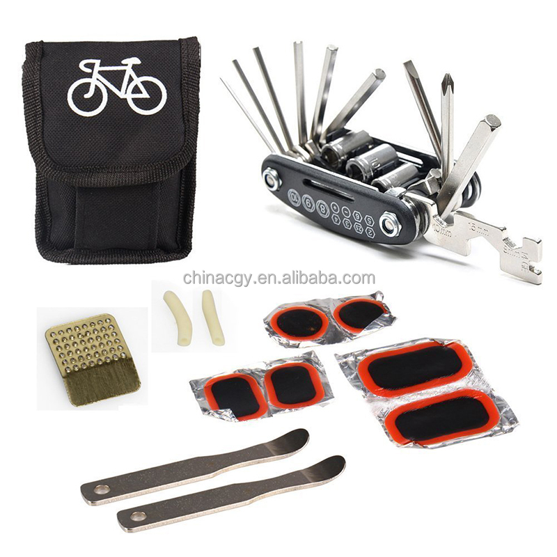 Wholesale bicycle accessories 12 pcs bike tire repair patchs tool kit/bicycle tool