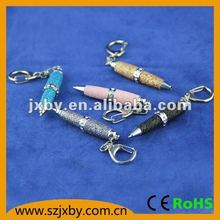 Glitter PU leather barrel twist mini ball pen with crystal and key chain