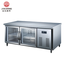 JD-TZXL2ET 2 Doors Chef Base Freezer Bench Stainless Steel Table Undercouner Refrigerator