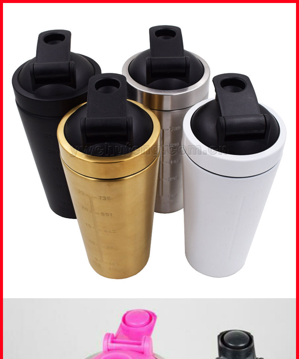 Stainless Steel Protein Shaker Bottle New Single Wall On Whey Protein for Fitness