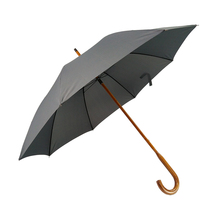 Custom logo printed automatic Black Straight umbrellas parasol with Wooden Handle