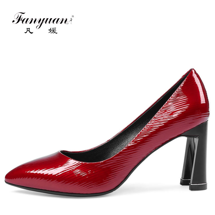 Elegant Concise Ladies High Pumps Ladies Office Italian Leather High Heels Shoes