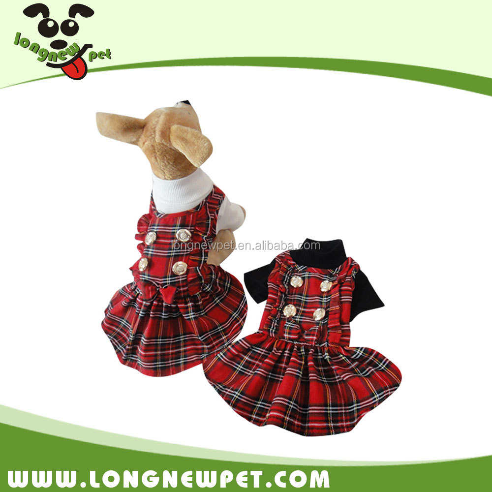 Designer Tartan Girls Winter Dresses Dog Winter Jackets Coats