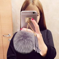 2016 New Arrival Luxury Transparent Tassel fox fur Mobile Phone Case Tassel Clear Case for iPhone 6 Cases