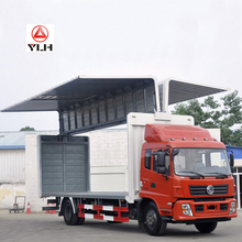 Chinese 7.7M Length Box Cargo Truck Price/180HP 10 Ton Rated Load Wing Open Van For Sale
