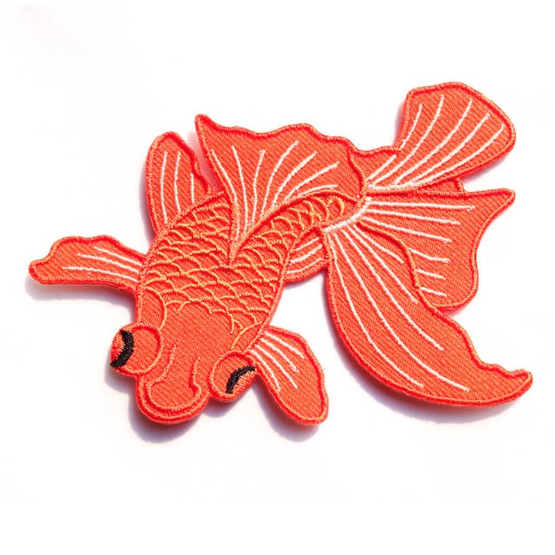 Wholesale Latest Design Japanese koi Fish Patch Embroidery Iron On Patches