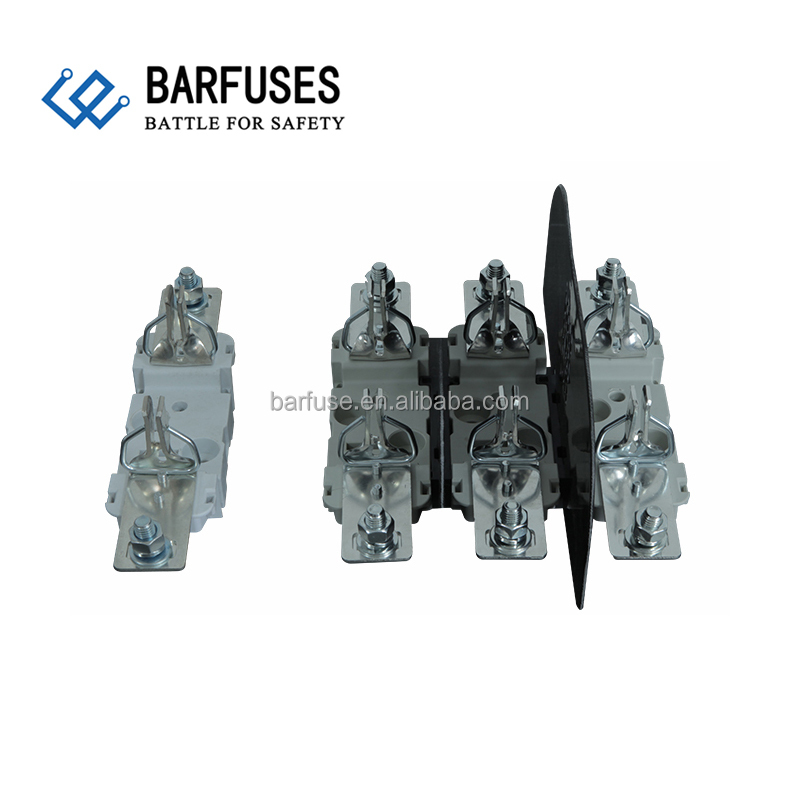 Barfuse Din Rail Mounted BH series 250 / 400 / 630A fuse base with phase barriers kits and neutral fuse link