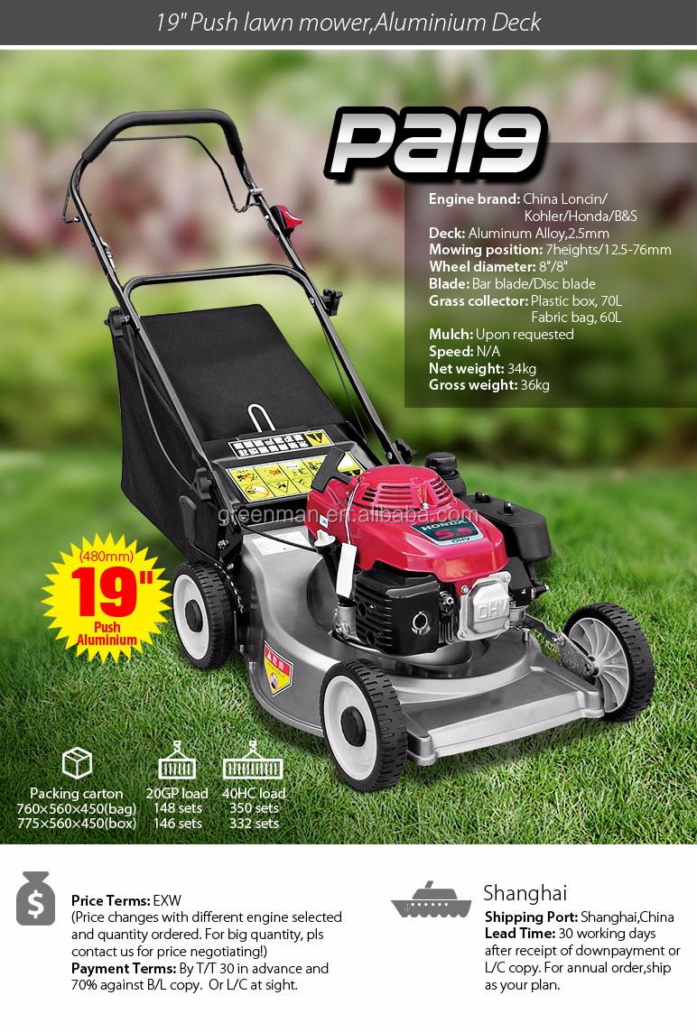 19 inch push ALUMINIUM DECK lawn mower with Loncin engine with mulch option