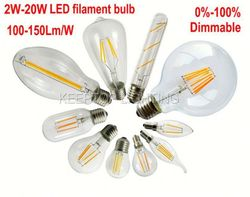 E27 2W 4W 6W 8W LED Chips LED Bulb Light Lamps Glass Globe Lamp Edison Led Filament Bulb Warm White 110V 240V Lampada Led