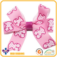 Custom Print Grosgrain Ribbon Bow Hair Clip Alligator Clips