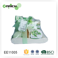 Green Promotional Skin Care Set with Foot Scrub & shower gel & lotion