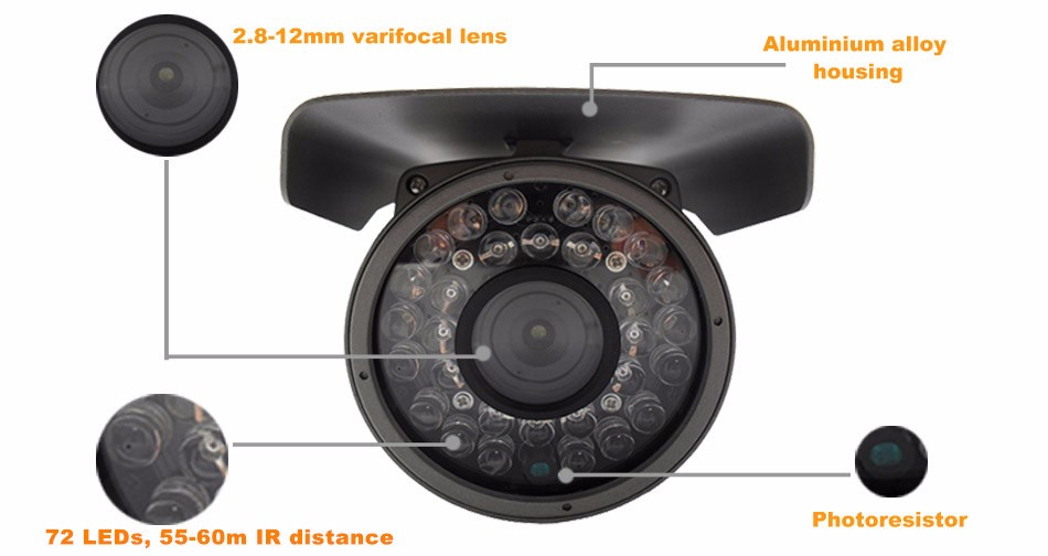 High Definition 4MP TR-X40AR725 IP66 water-proof verifocal lens 2.8-12mm up to 60m long IR distance Camera 4 in 1 System
