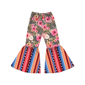 high quality summer long pants serape and flower printing baby boutique clothes baby pull up pants