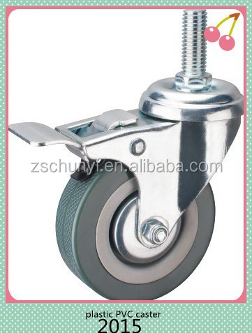 The 3 inch Gray Plastic Caster ,<strong>M10</strong>*30 Screw Brake