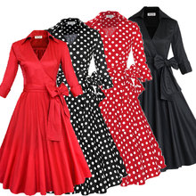 Z&M 2016 Retro 50s prom dress cheap Vintage long sleeved Polka dots Swing Jive Dress Rockabilly prom dress 50s