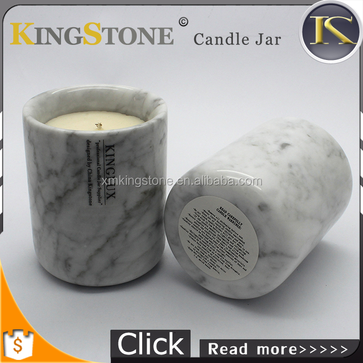 high quality natural stone polished white marble candle jar for home decoration