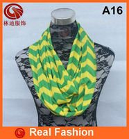 Fashion jersey green and yellow Zigzag chevron infinity scarf A16