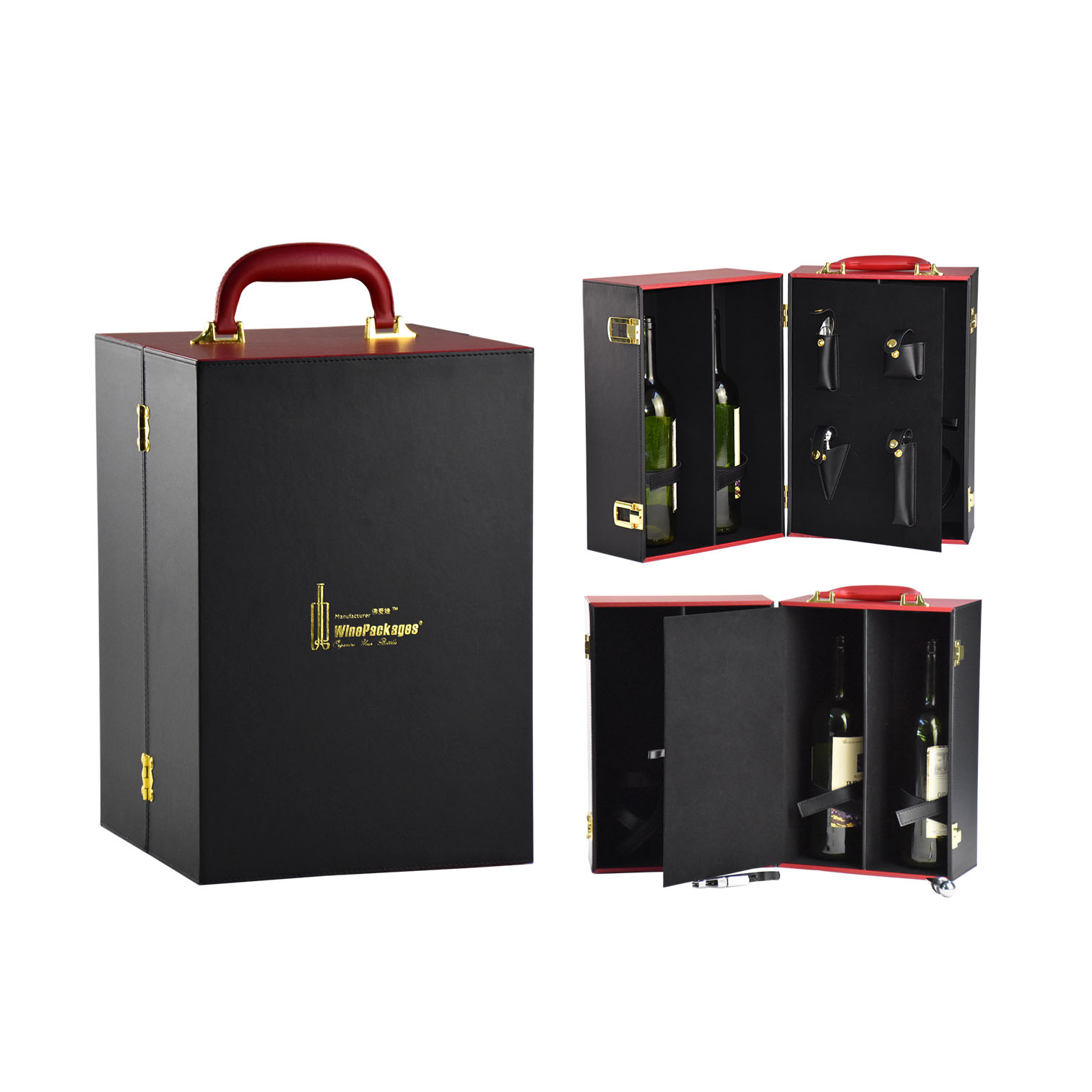 faux pu leather round single wine glass bottle box
