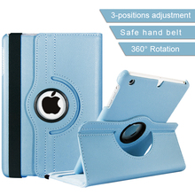 Textured Blue Litchy Grain PU Leather Tablet PC Cover 7.9 Inch 360 Degree Rotation Leather Case for Ipad Mini 4