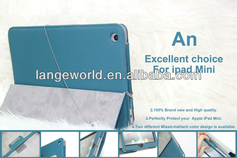 2013 Blue New Arrival ROCK Leather Case For ipad mini