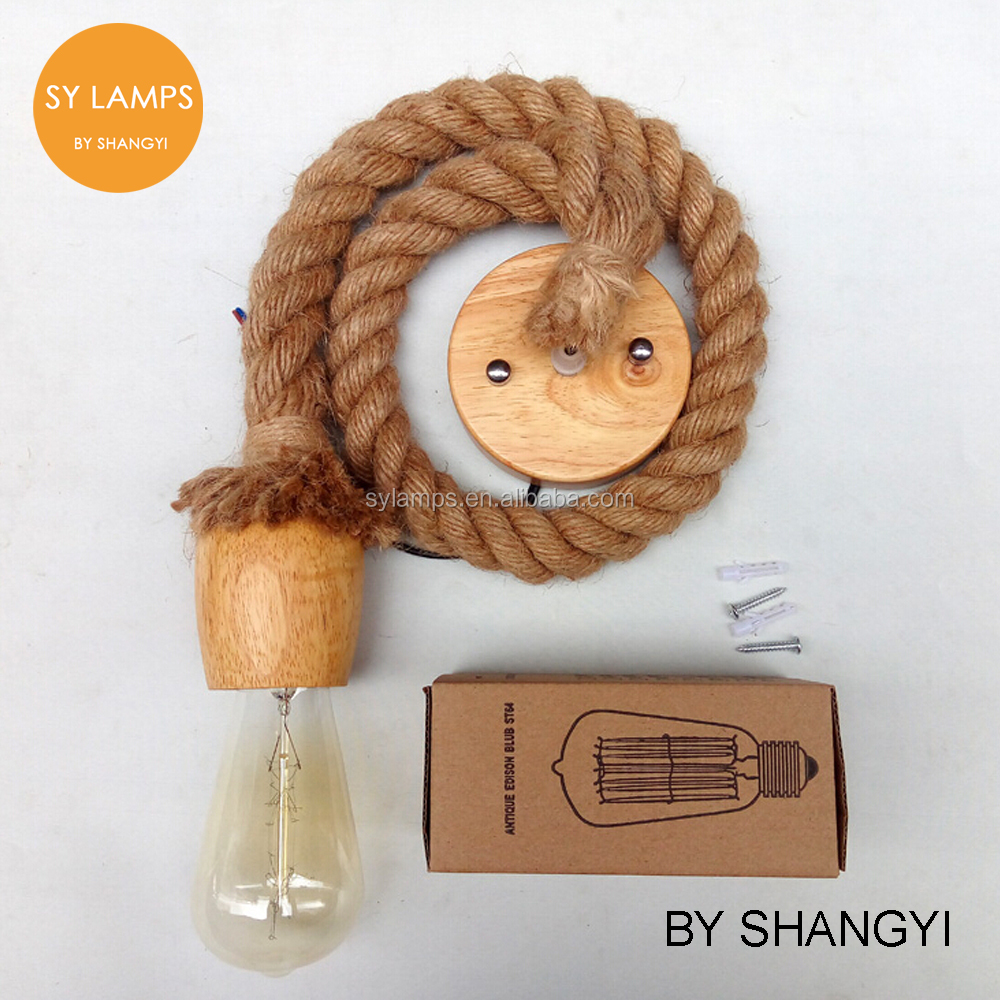 Hemp Rope Pendant Light Hemp Rope Lamp Wood Pendant Kit Vintage Pendant Kit