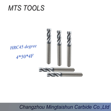 Tungsten steel end mill 4mm 4 flute end mill can machine Alloy steel, carbon steel, etc