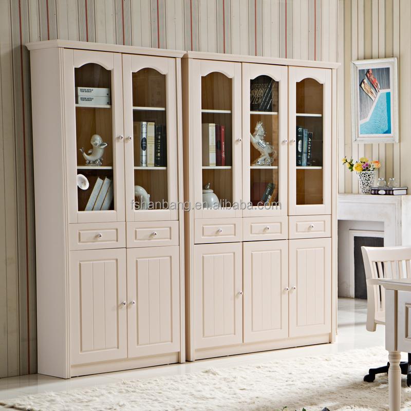 blanc en bois mdf meubles tagre avec porte en verre
