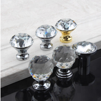Furniture Haraware Cabinet Diamond Crystal Glass 30mm Knob Handle For Drawer