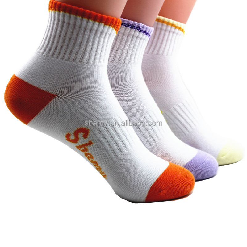 sbamy top quality white crew basketball female socks