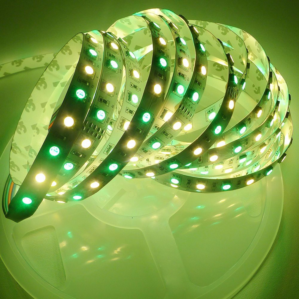 16.4ft 5M 5050 RGBWW 4 in 1 RGB+Warm White Mixed Color 60leds/m IP30 Non-waterproof 300LEDs Ribbon Lamps LED Tape Lights