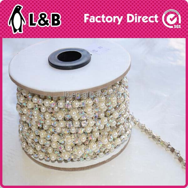 2015 new design crystal fancy stone chain trimming for dress/ decoration