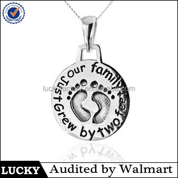 wholesale new design word 925 sterling silver baby feet little pendant necklace