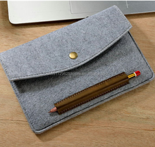 quality customized size cow leather wool felt bag felt bag for ipad tablet case