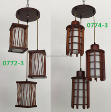 0772-3p & 0774-3p rustic wooden hanging pendant light for decoration