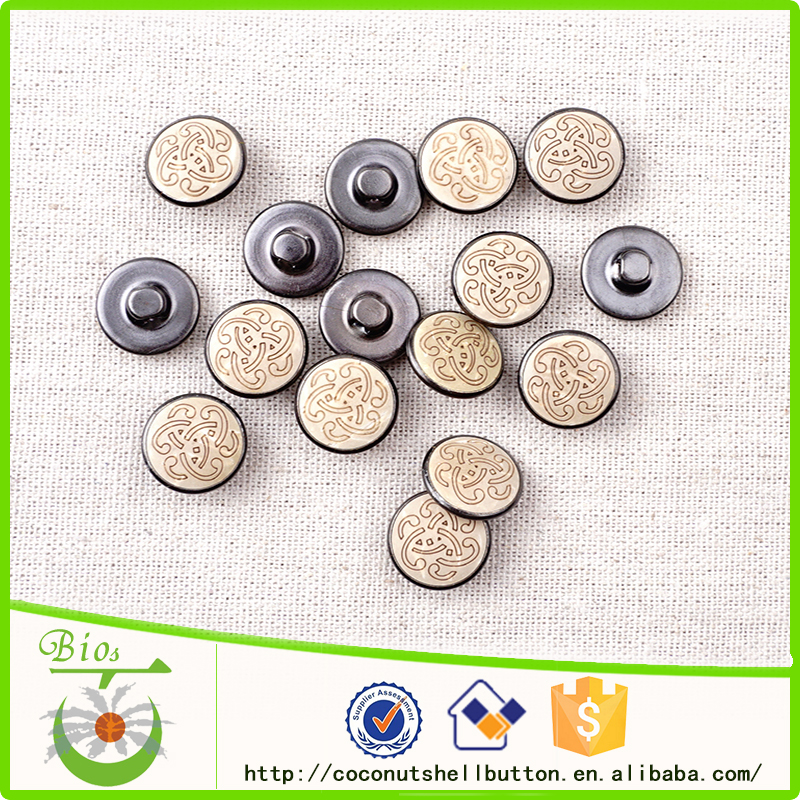 Free sample laser coconut top custom metal jeans shank button