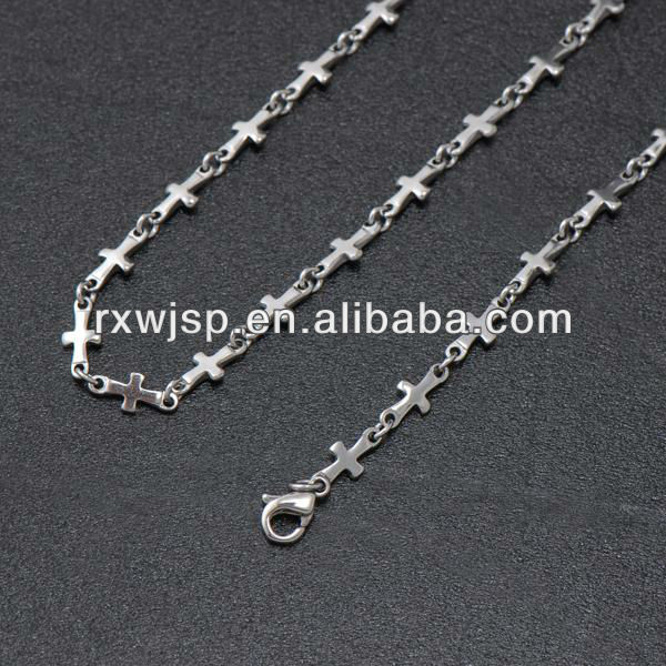 316L Stainless Steel Mens Necklace Cross Chain
