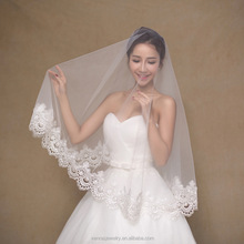 Ivory Short Wedding Veil 1.5 m Bridal Veil for Bride Tulle with Flower