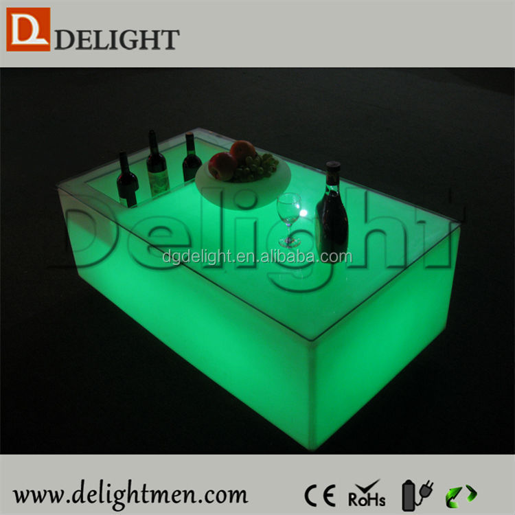 Commercial furniture waterproof illuminated RGB remote control outdoor high top bar tables for bar