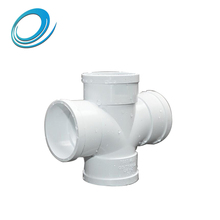 Light weight white pvc equal and reducing cross joint pipe fitting