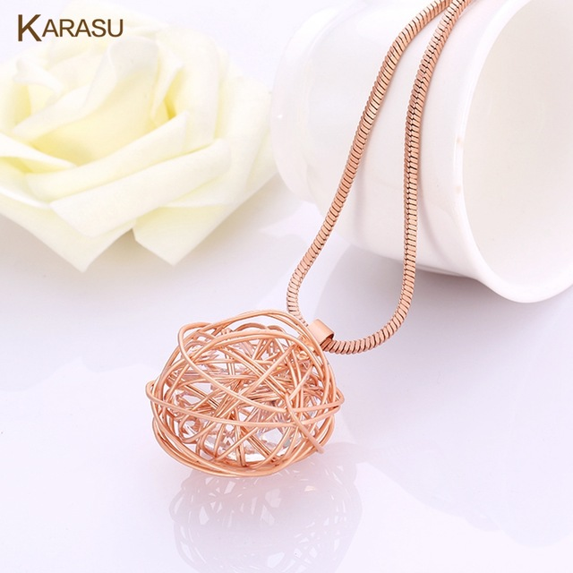 Fashion Cute Real 18K Matte Gold Plated Thread Round Big Austrian Crystal Pendant Statement Necklace Jewelry for Women