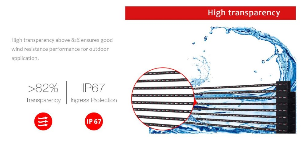 Outdoor light-weightTransparent LED Display Glass Transparent LED Display applied in outdoor