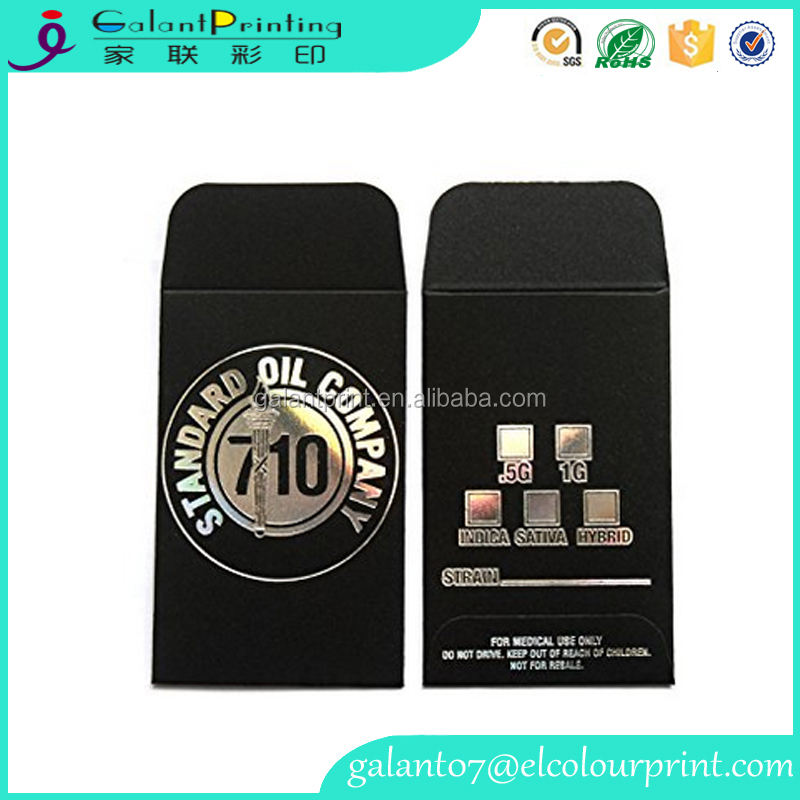 Alibaba China Factory Wholesale Custom Printing Black Silver Shatter Wax Extract Coin Holographic Foil Mini Envelopes