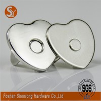 Promotional heart shape purse magnetic snap button hook with plating colors and good craftsmanship